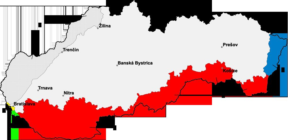 Slovensko v čase neexistencie európskej integrácie v rokoch 1938 – 1945. Slovenské územie bolo okupované Maďarskom (zelená, červená a modrá) a Treťou ríšou (žltá a tmavosivá). Česi na tom boli ešte oveľa horšie, nehovoriac o Poliakoch a Ukrajincoch. Zdroj – Martin Proehl / Murli, Wikimedia Commons