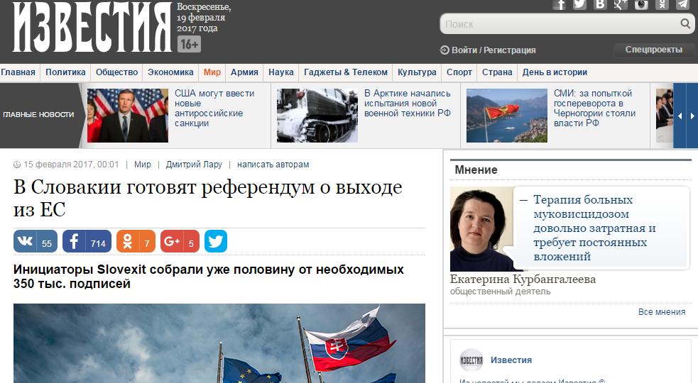 Titulka ruských novín s článkom o Slovensku. Reprofoto - N