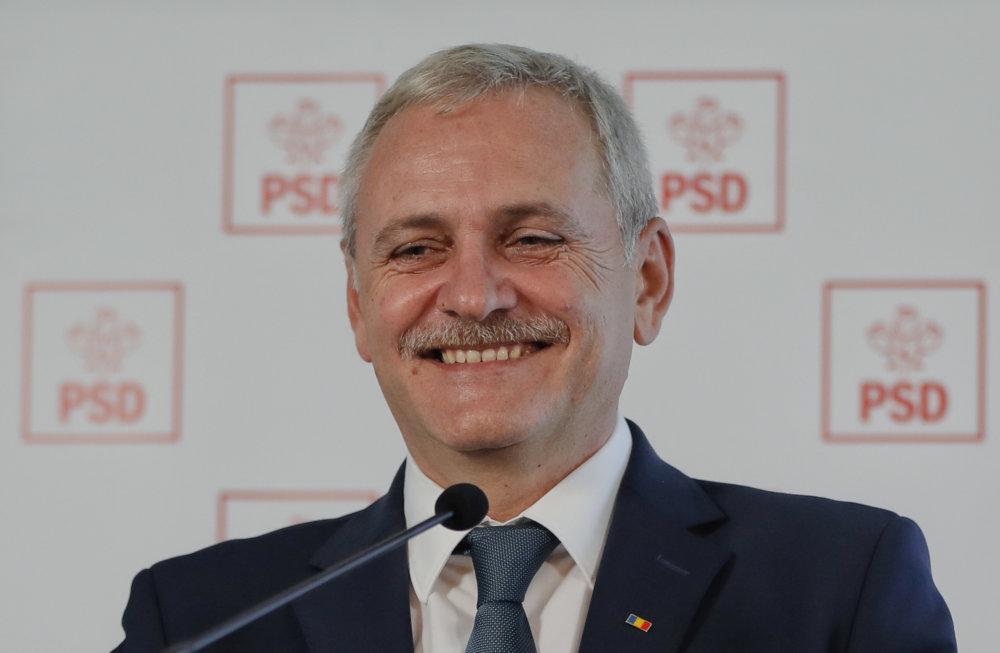 Liviu Dragena je predseda Sociálnodemokratickej strany, ktorá v decembri vyhrala so 45-percentami voľby. Premiérom však byť nemohol, pretože ho podmienečne odsúdili za volebné podvody.  Foto - tasr/ap
