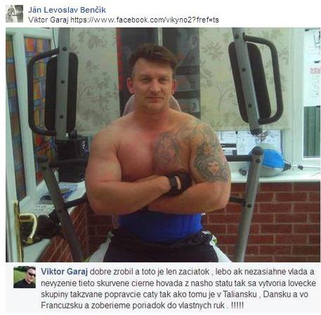 Príspevok, pre ktorý Facebook zablokoval Benčíkovi účet. Ide o printscreen nenávistného príspevku.