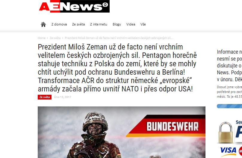 """Miesto Miloša Zemana bude českej armáde veliť Nemec. Takto si dohodu o spoločných cvičeniach vysvetlil server Aeronet v článku, ktorý podpísal autor s prezývkou """"vedoucí kolotoče""""."""