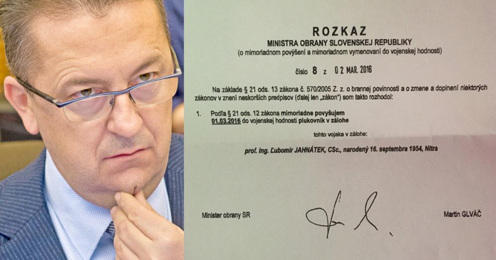 Rozkaz Martina Glváča o povýšení Ľubomíra Jahnátka.