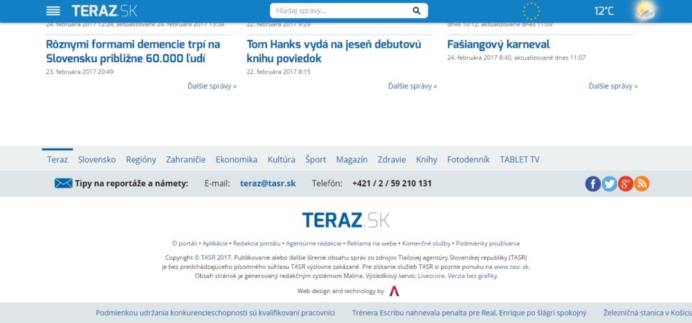 Teraz.sk vystupuje ako portál TASR