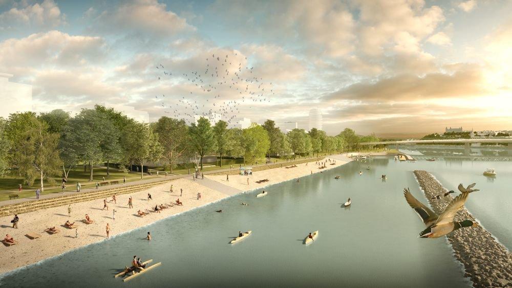 Návrh nového pobrežia Dunaja na petržalskej strane. Foto - Ateliér Compass