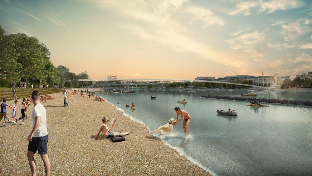 Návrh pláže na petržalskej strane Dunaja. Foto - Ateliér Compass