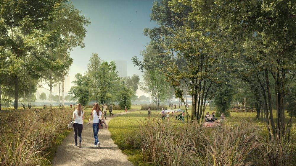Návrh parku na brehu Dunaja na petržalskej strane. Foto - Ateliér Compass