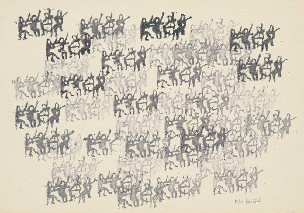 Milan Adamčiak: 48 sláčikových kvartet hrá súčasne anezávisle tú istú skladbu klasika. 1978. Zbierka Linea