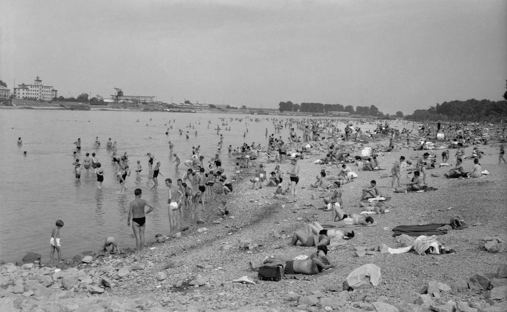 August 1962 na kúpalisku Lido na pravom brehu Dunaja. Foto - TASR