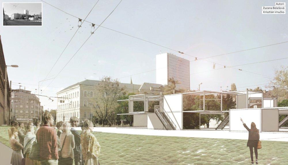 Na mieste súčasnej čerpacej stanice by mohla vzniknúť kontajnerová zostava pre kreatívne dielne, ktoré by do parku priniesli život.