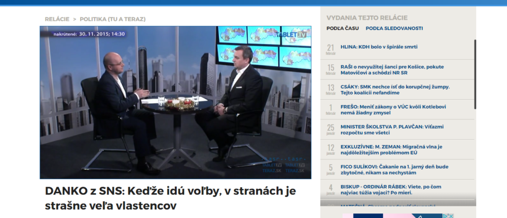 Andrej Danko v Tablet TV