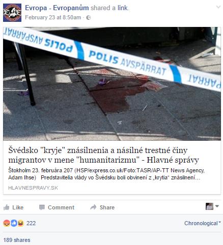 Dôležitú úlohu zohrávajú články dezinformačných webov, ako sú Hlavné správy, ktoré sa aj vďaka protimigrantským profilom šíria Facebookom.