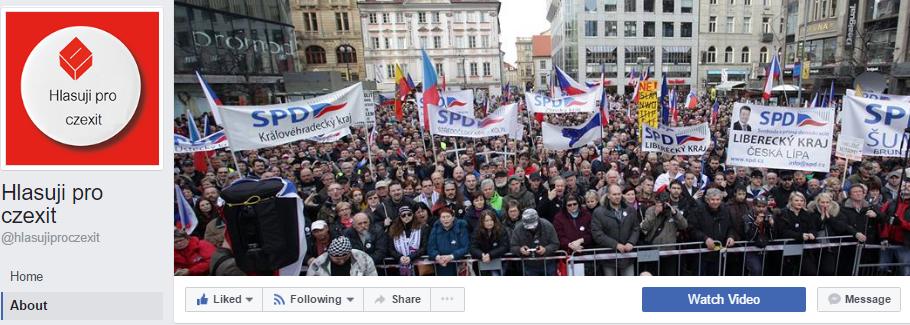 Stránka Hlasuji pro czexit má skoro 30-tisíc fanúšíkov. Hlási sa k podpore českej strany SPD Tomia Okamuru, ktorá sa však nehlási k nej.