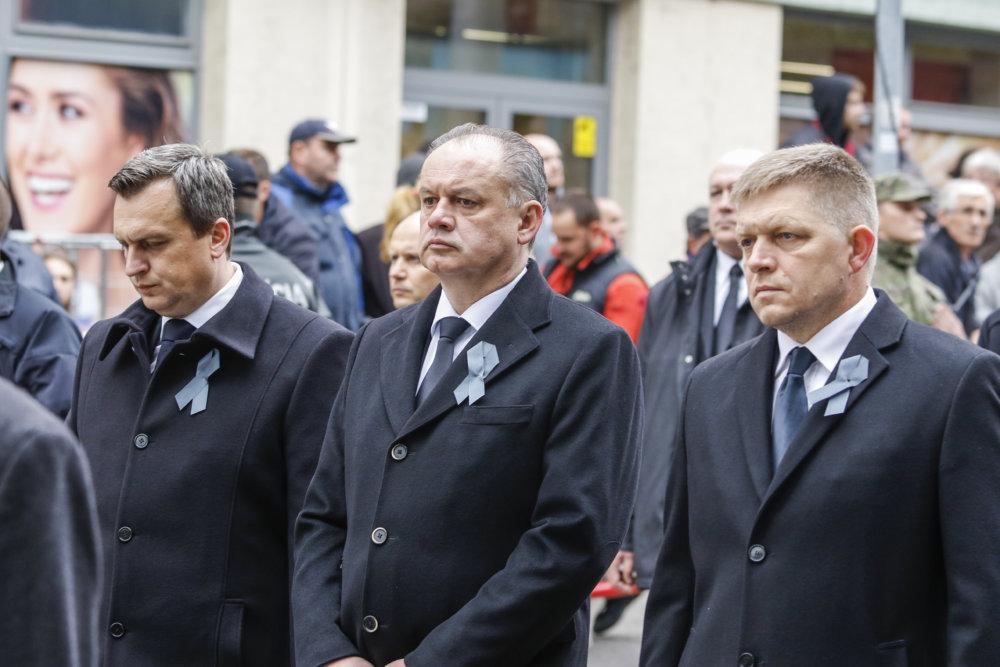 Andrej Danko, Andrej Kiska a Robert Fico na štátnom pohrebe Michala Kováča. foto - tasr