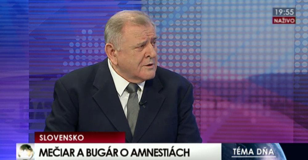 V debate televíze TA3 o rušení Mečiarových amnestií diskutoval s Mečiarom Béla Bugár. reprofoto - Denník N