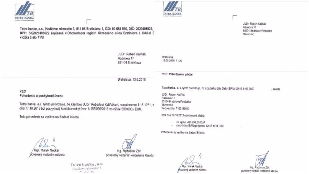 Kaliňák poskytol médiám potvrdenie o tom, že Bašternákovi za firmu zaplatil vďaka úveru. Foto - Ministerstvo vnútra
