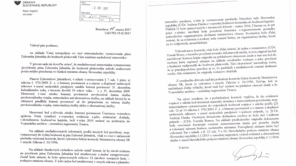 Odpoveď ministra obrany Gajdoša