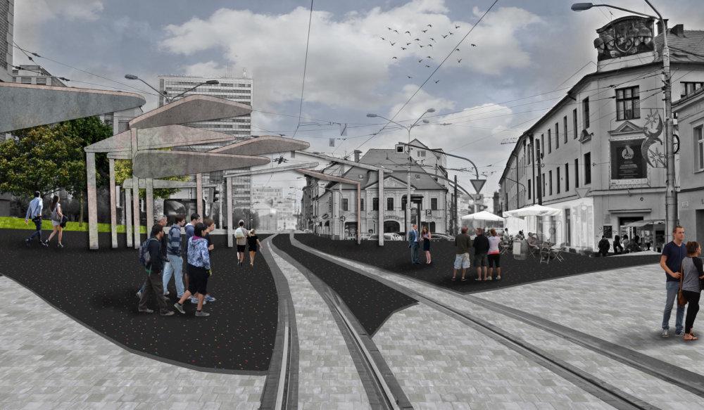 Jeden z návrhov, ako zmeniť dolnú časť Kollárovho námestia pred galériou Satelit v Hurbanových kasárňach. Autor: Alexander Topilin