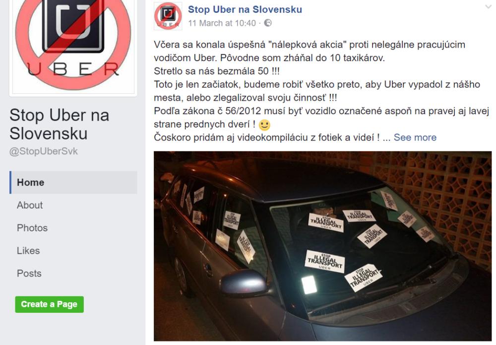 Foto - Facebook Stop Uber na Slovensku