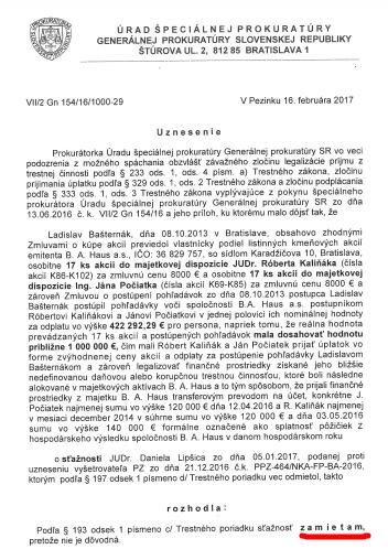 Uznesenie o odmietnutí vyšetrovať kauzu BA Haus a obchod Kaliňáka s Bašternákom
