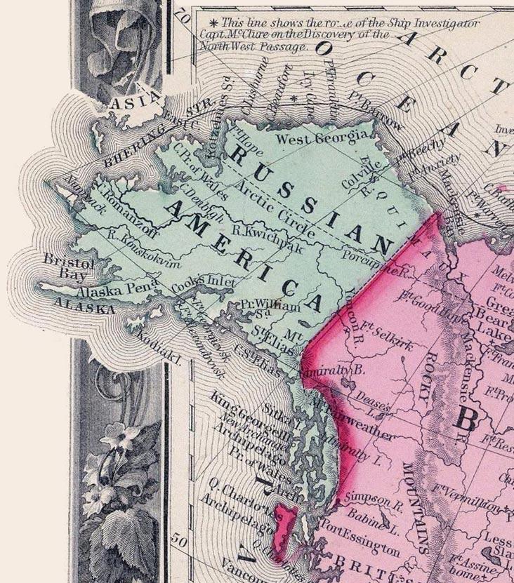 Ruská Amerika v roku 1860. Mapa - wikimedia/cc