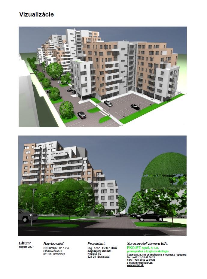Staršia vizualizácia zámeru z portálu EIA. Zdroj: Obytná zóna Nobelova ulica, Bratislava - enviroportal.sk