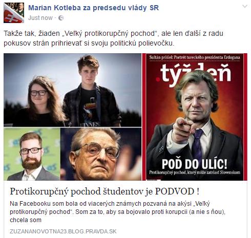 Ako videli utorkový protikorupčný pochod Kotlebovci a ich sympatizanti: študentov Karolínu Farskú a Dávida Straku zrejme mali riadiť Poliačik so Sorosom.