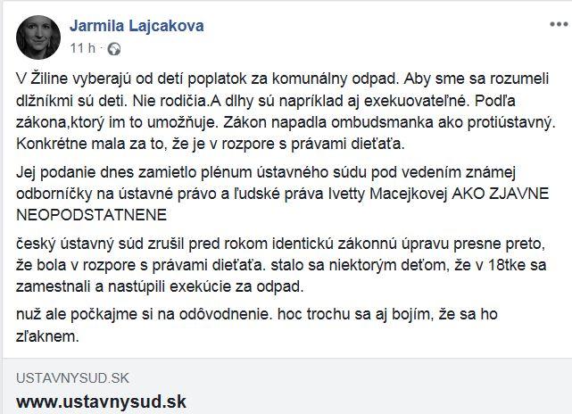 z FB profilu Jarmily Lajčákovej