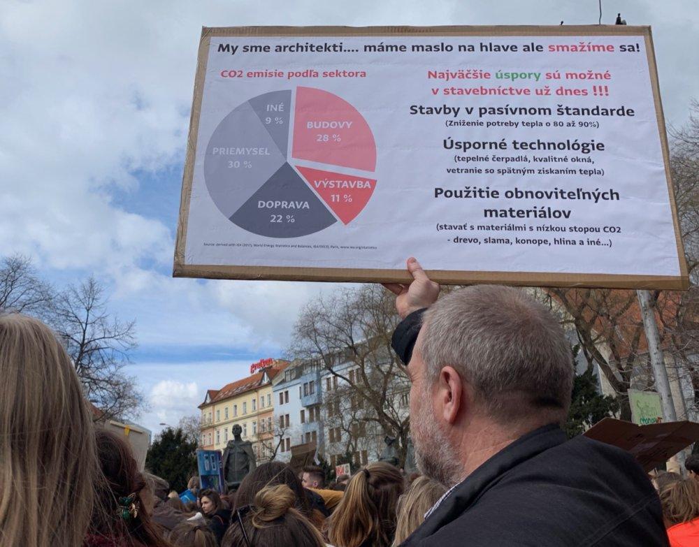 Plagát na piatkovom proteste Školský štrajk za budúcnosť Foto: Createrra