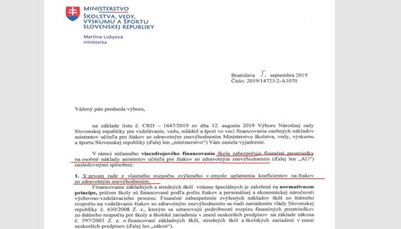 List ministerky Lubyovej školskému výboru parlamentu