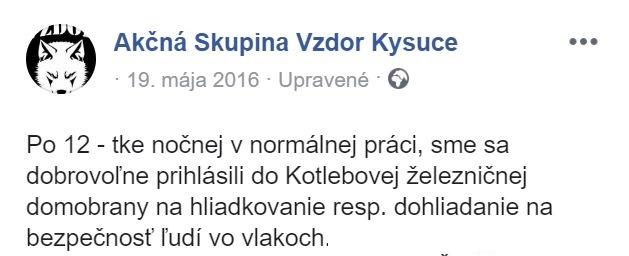 Kotleba a jeho esá vo vlakových hliadkach 19.5.16