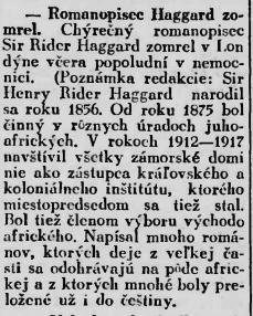 Nekrológ v časopise Slovák