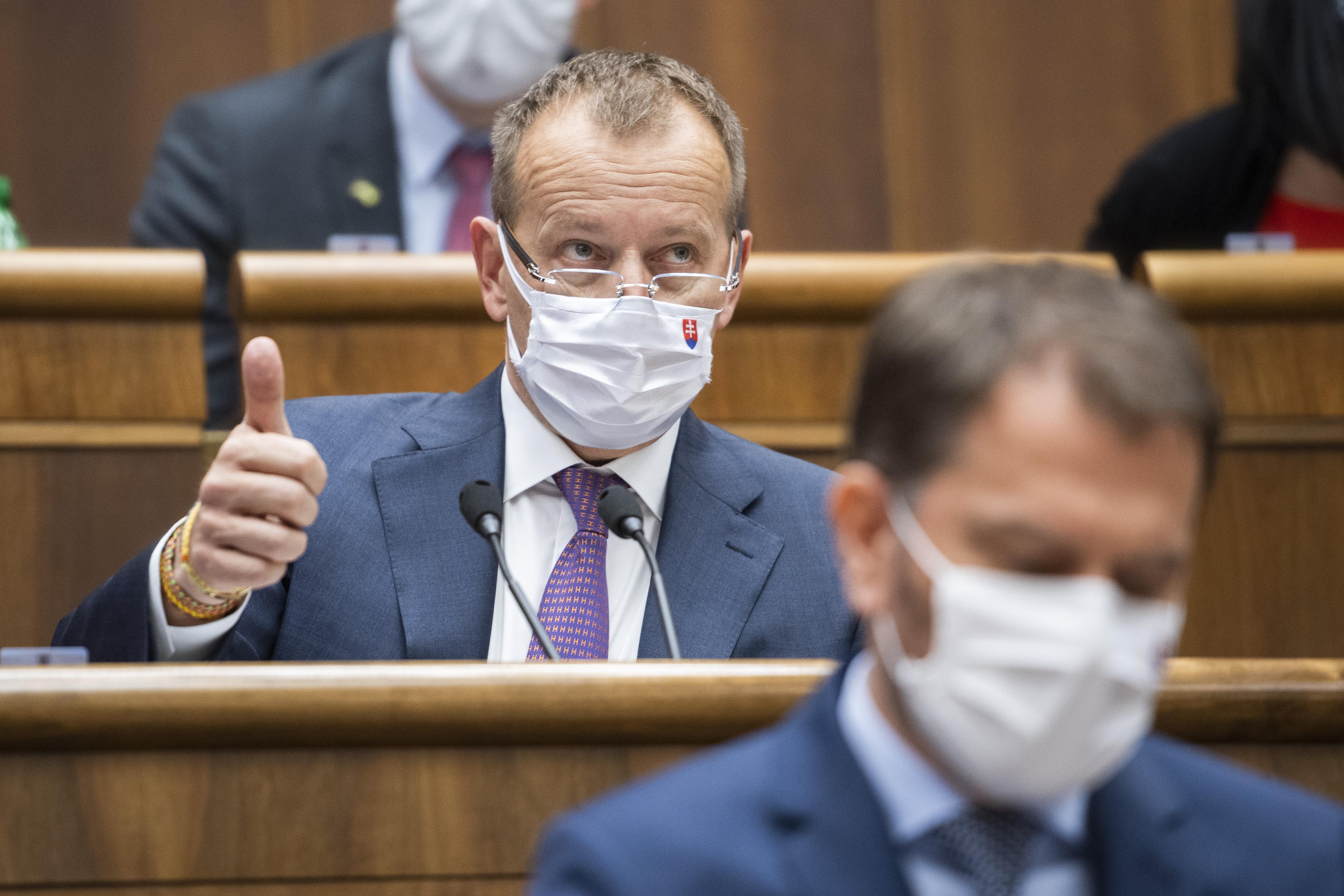 Predseda NR SR Boris Kollár a premiér Igor Matovič. Foto - TASR