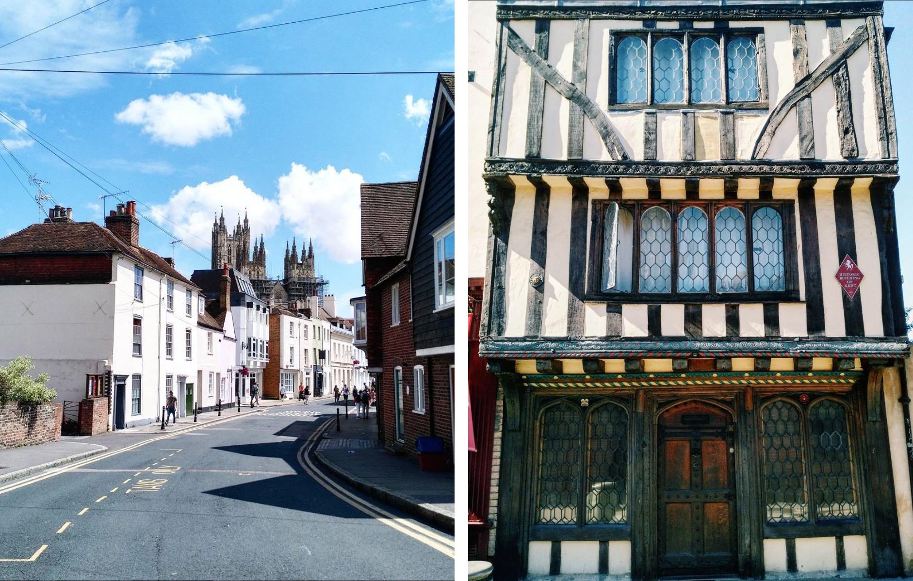 Vľavo slnkom zaliata ulica v Canterbury, vpravo fotografia časti fasády miestneho domu. Kent, Anglicko