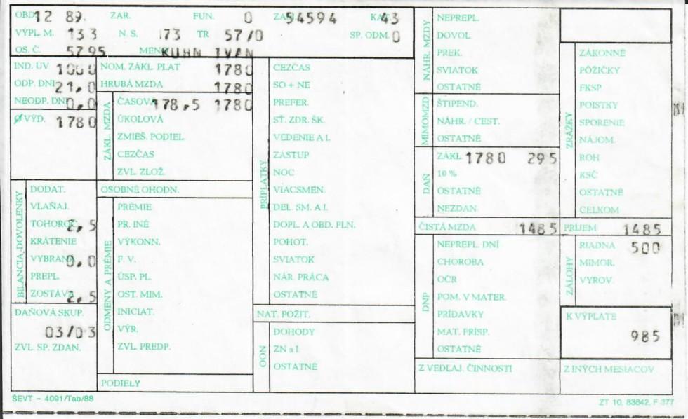 Výplatná páska úpravára vody v kotolni nemocnice z roku 1989
