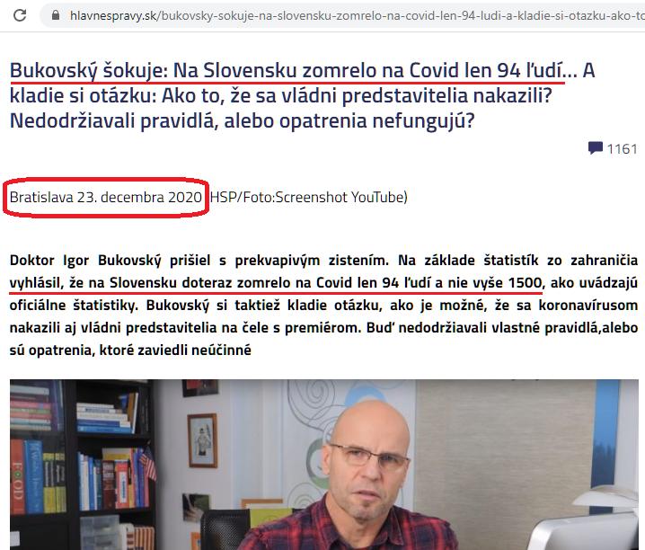 """Náhľad článku, ktorý zdieľal vyjadrenie Dr. Bukovského s titulkou """"Bukovský šokuje: Na Slovensku zomrelo na Covid len 94 ľudí… """""""