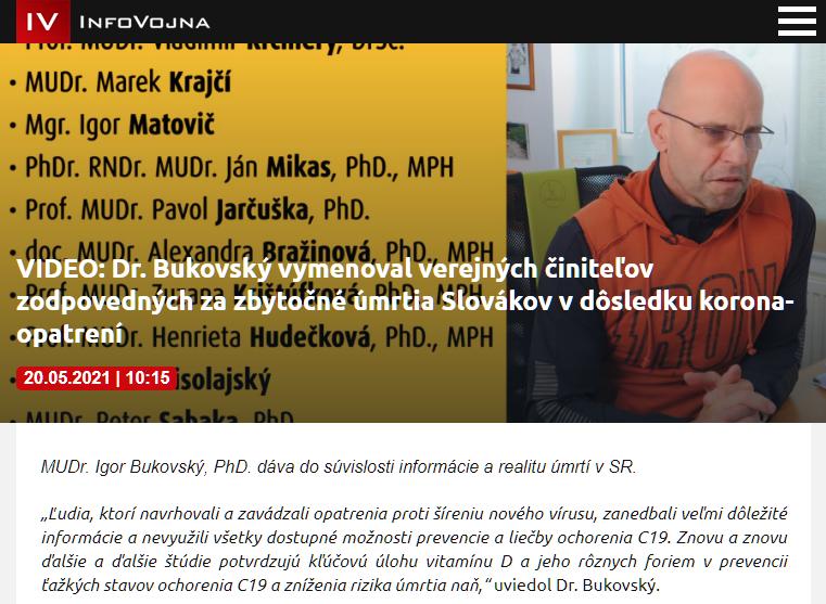 Náhľad z videa Dr. Bukovského prekrytý textom, že Dr. Bukovský vymenoval zodpovedných za úmrtia.