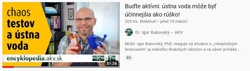 """Náhľad vyhľadávania videí s výsledom videa Dr. Bukovského """"Buďte aktívni: ústna voda môže byť účinnejšia ako rúško!"""""""