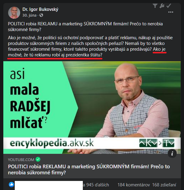 Dr Bukovsky kritizuje to, co sam robi. Tu kritizuje