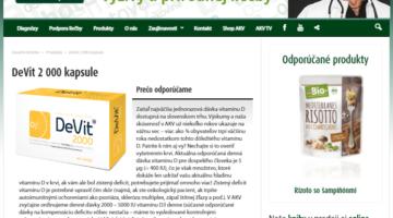 Screenshot stránky firmy Dr. Bukovského propaguje vitamín D DeVit