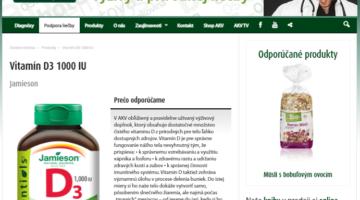 Screenshot stránky firmy Dr. Bukovského propaguje vitamín D Jamieson. Zdroj: https://encyklopedia.akv.sk/produkty/jamieson-vitamin-d3-1000-iu-20040-tbl-bonus/