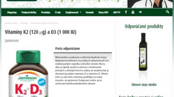 Screenshot stránky Dr. Bukovského, ktorý na svojej stránke propaguje vitamín D3 Jamieson s vitamínom K2.