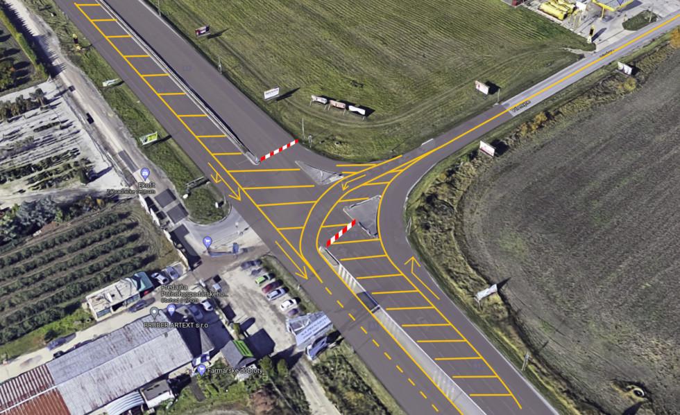Navrhované križovanie ulíc Stará Senecká a Pri mlyne
