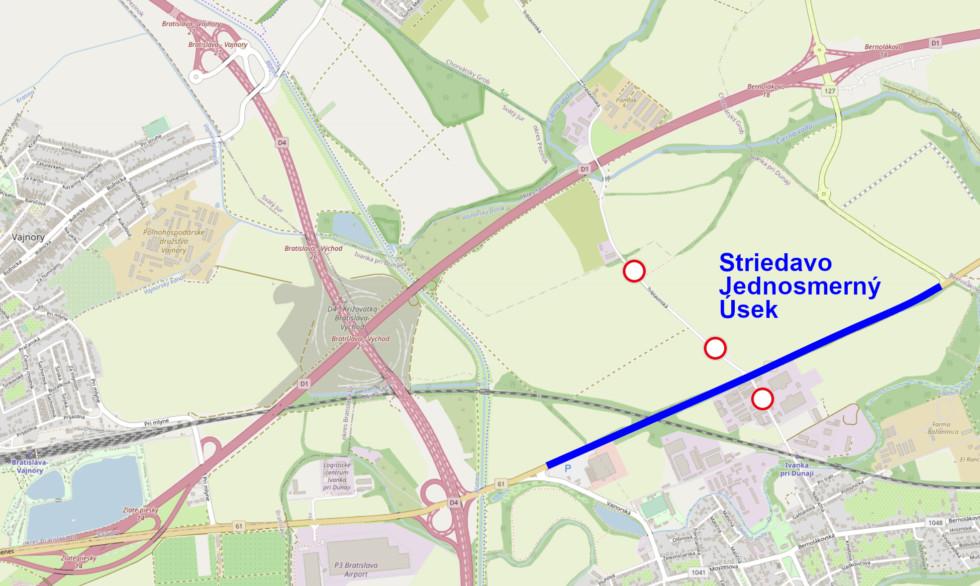 Mapa navrhovaného úseku na striedavé zjednosmernenie