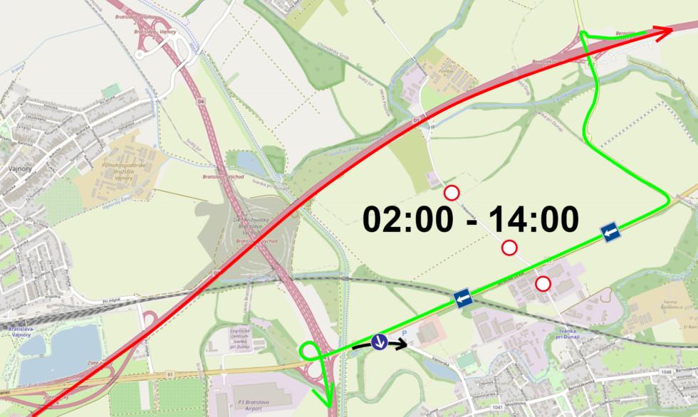 Dopravné značenie Seneckej cesty v ranných hodinách