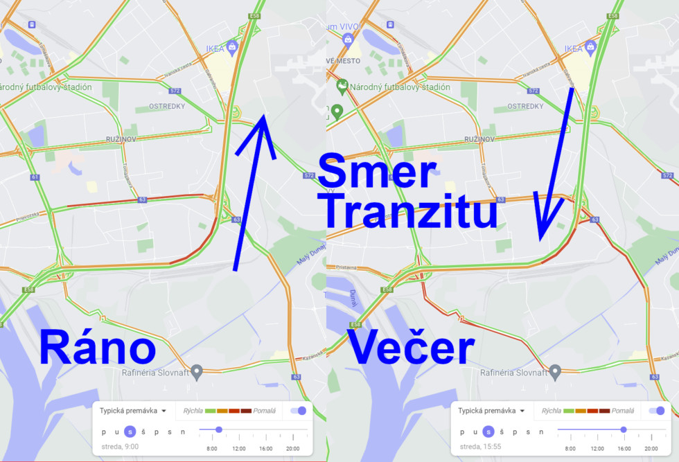 Porovnanie hustoty premávky na D1 v meste v ranných a poobedných hodinách